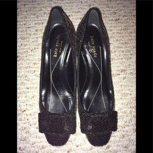 Kate Spade black sequin kitten heels women's 7.5